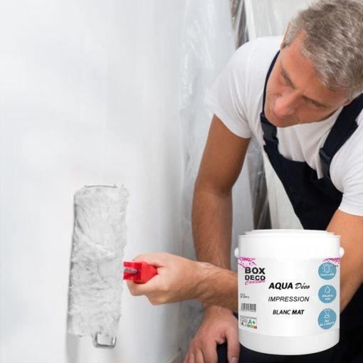 Peinture impression murale acrylique blanc aspect mat Aqua Déco - 2,5L / 22m²